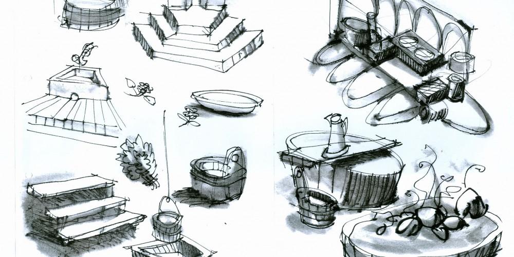 BADER Skizze Zuber, Steine, Stufen